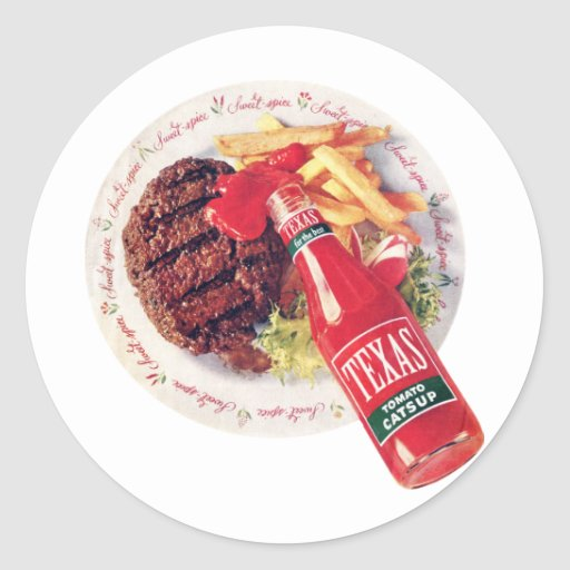 Texas Ketchup Burger and Fries Classic Round Sticker