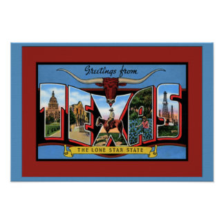 Texas Large Letter Greetings Poster