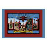 Texas Large Letter Greetings Print