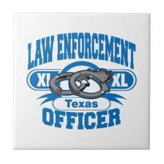 Texas Law Enforcement Officer Handcuffs Ceramic Tile