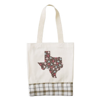 Texas Leather Handle Tote - Brown Floral