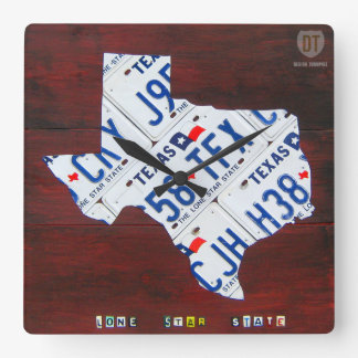Texas License Plate Map Clock