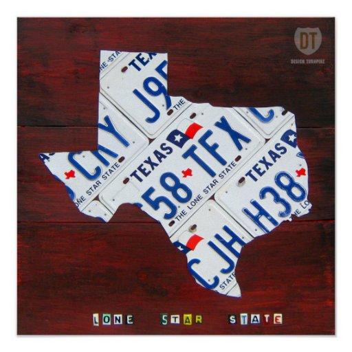 Texas License Plate Map Print