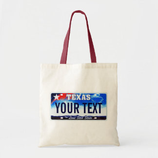 Texas license plate tote bag