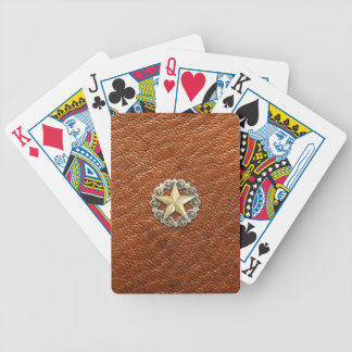 Texas Lone Star Concho on Brown Leather look Bicycle Playing Cards
