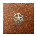 """Texas Lone Star Concho on Brown Leather look Tile<br><div class=""""desc"""">Texas Lone Star Concho on Brown Leather look</div>"""