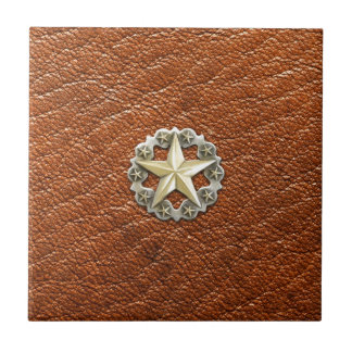 Texas Lone Star Concho on Brown Leather look Tile