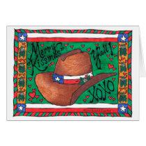 Texas Lone Star Cowboy Hat Mistletoe Christmas Card