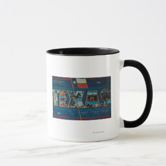 Texas (Lone-Star Flag)Large Letter Scenes Mug