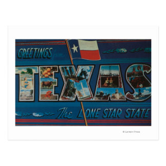 Texas Lone-Star Flag Large Letter Scenes Postcards