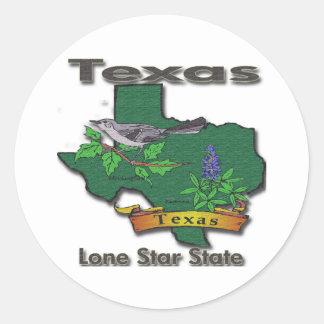 Texas Lone Star State Bird Flower Classic Round Sticker