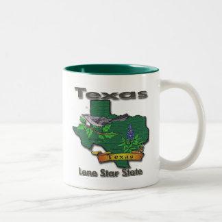 Texas Lone Star State Bird Flower Two-Tone Coffee Mug