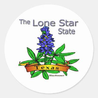 Texas Lone Star State Bluebonnet Classic Round Sticker