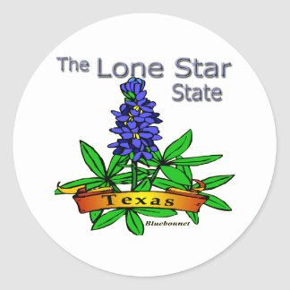 Texas Lone Star State Bluebonnet Classic Round Sticker