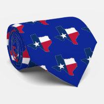 Texas Lone Star State Flag and Map Outline Texan Neck Tie