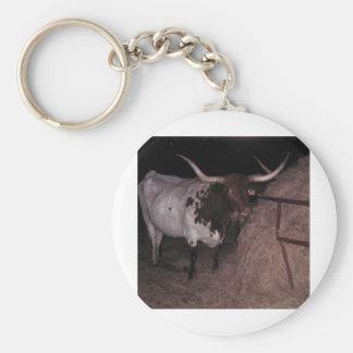 Texas Longhorn 2 at Cowcatchers Basic Round Button Keychain