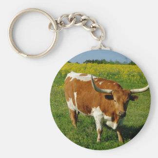 Texas Longhorn Basic Round Button Keychain