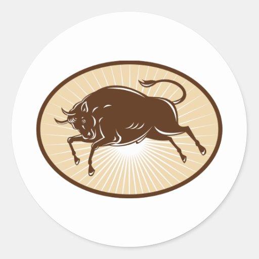 Texas Longhorn Bull attacking retro Round Sticker
