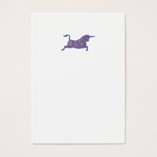 Texas Longhorn Bull Charging Mono Line Business Card