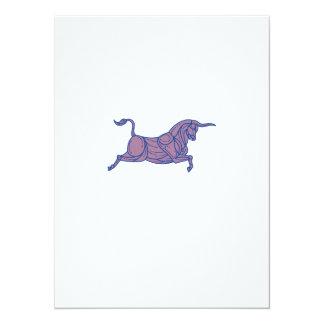 Texas Longhorn Bull Charging Mono Line Card