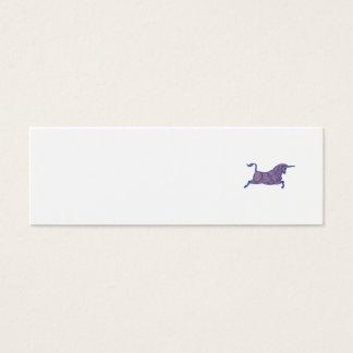 Texas Longhorn Bull Charging Mono Line Mini Business Card