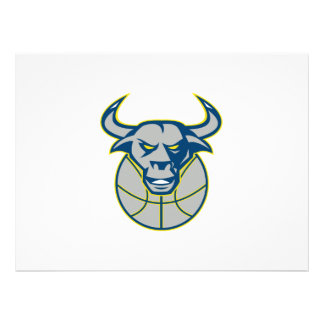 Texas Longhorn Bull Head Basketball Personalized Invitations
