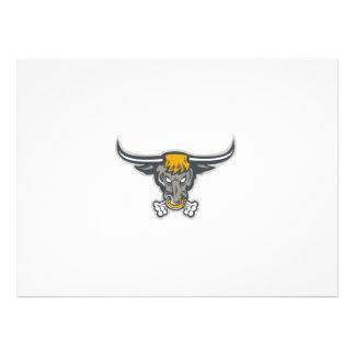 Texas Longhorn Bull Head Front Custom Invite