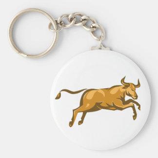 texas longhorn bull jumping side retro basic round button keychain