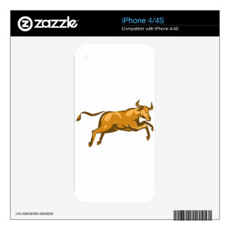 texas longhorn bull jumping side retro skins for the iPhone 4