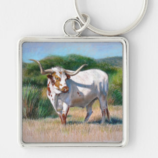 Texas Longhorn Bull Western Art Painting Silver-Colored Square Keychain
