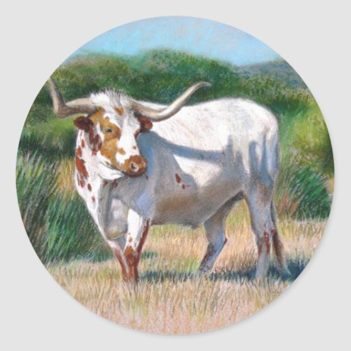 Texas Longhorn Bull Western Art Painting Classic Round Sticker
