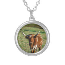 Texas Longhorn Cattle Cow  Photo Rustic Silver Plated Necklace
