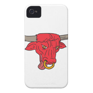 Texas Longhorn Red Bull Drawing iPhone 4 Case