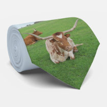 Texas Longhorn Steer In Field Print On Necktie