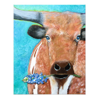 Texas Longhorn with Bluebonnet Photo Print