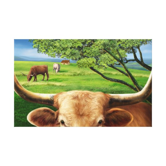 Texas Longhorn  Wrapped Canvas