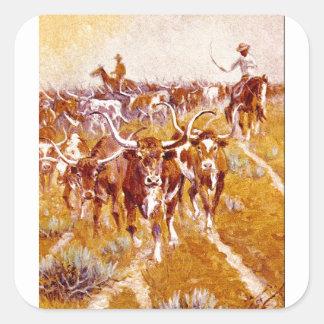 'Texas Longhorns', Olaf C.Seltzer_Great Work of Ar Square Sticker