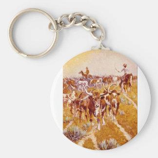 'Texas Longhorns',Olaf C.Seltzer_Great Work of Art Basic Round Button Keychain