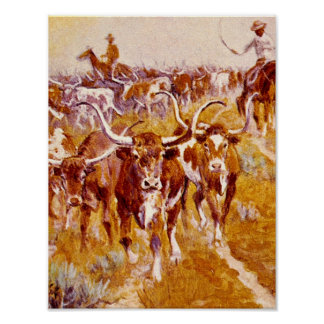 'Texas Longhorns',Olaf C.Seltzer_Great Work of Art Poster