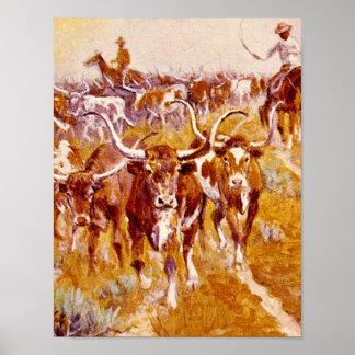 'Texas Longhorns',Olaf C.Seltzer_Great Work of Art Poster