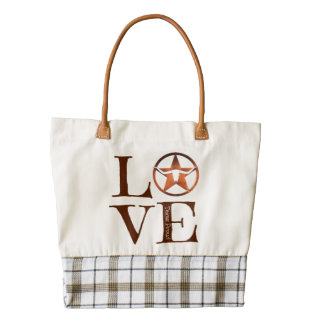 Texas LOVE, Texas Proud Zazzle HEART Tote Bag