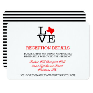 Texas Love Wedding Reception Card
