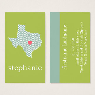 Texas Love with Custom Heart and Family Name Business Card