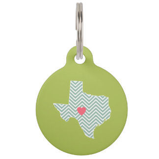 Texas Love with Custom Heart and Family Name Pet Name Tag