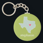 "Texas Love with Custom Heart and Family Name Keychain<br><div class=""desc"">Home is where the heart is! Teal and Lime Green Chevron Pattern - You can add your name to this whimsical design. To move the heart,  you must open the design tool to move it around.</div>"