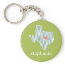 Texas Love with Custom Heart and Family Name Keychain