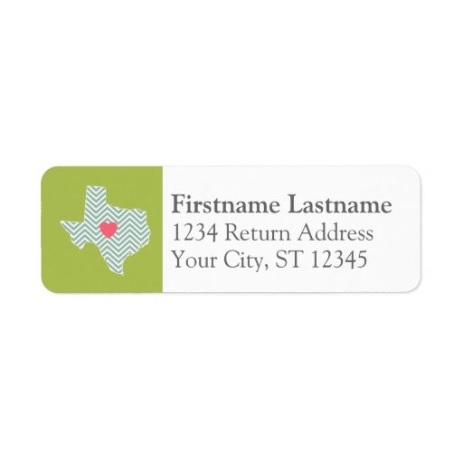 Texas Love with Custom Heart and Family Name Return Address Label