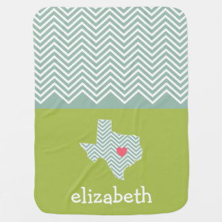 Texas Love with Custom Heart and Family Name Stroller Blanket