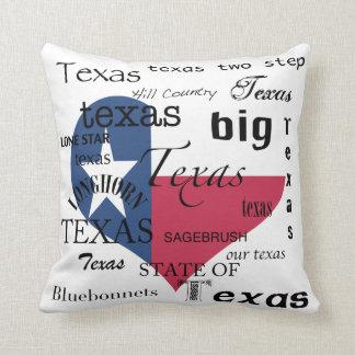 Texas Love-Word-cloud+Texas Heart Shaped Flag Throw Pillow
