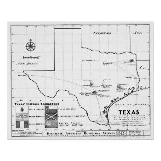 Texas Map, 1933 Poster